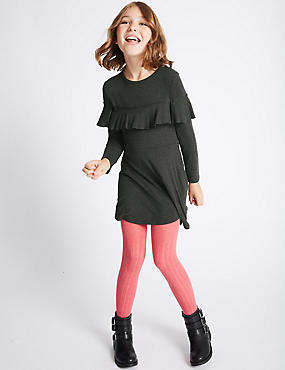 Long Sleeve Frill Dress (3-14 Years)