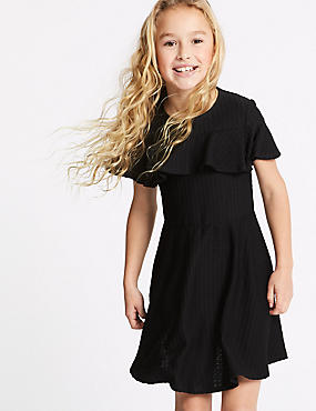 Ponte Frill Sleeve Dress (3-16 Years), BLACK MIX, catlanding