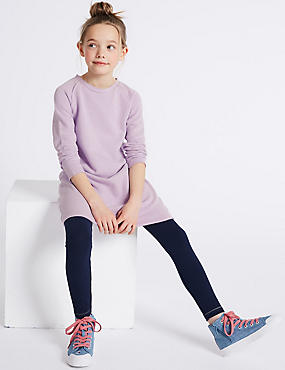 Cotton Rich Sweat Dress (3-16 Years), LILAC, catlanding