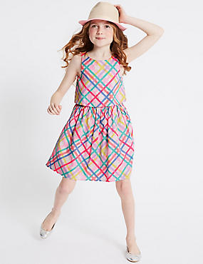 Checked Pure Cotton Prom Dress (3-16 Years)