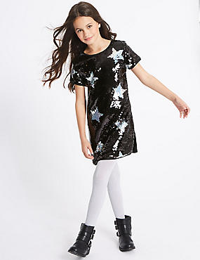 Star Sequin Short Sleeve Dress (3-14 Years)