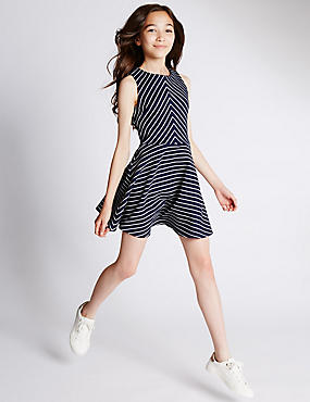 Striped Textured Dress (5-14 Years)