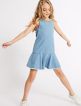 Denim Drop Waist Dress (3-16 Years)