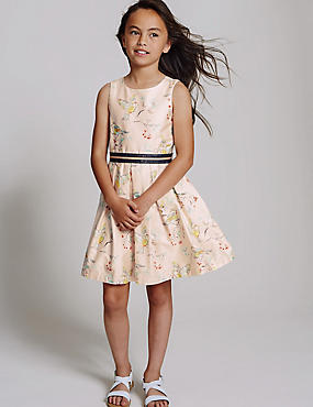 Pure Cotton Bird Print Prom Dress (3-14 Years)