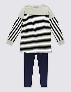 Pure Cotton Striped Legging Outfit (5-14 Years)
