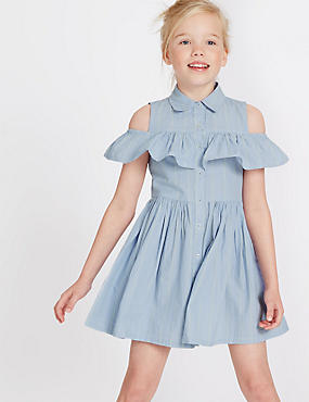 Pure Cotton Cold Shoulder Striped Dress (3-14 Years)