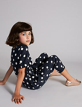 Spotted Jumpsuit (3-16 Years), NAVY, catlanding