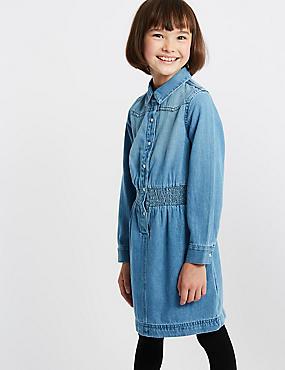 Pure Cotton Shirt Dress (3-16 Years), DENIM, catlanding