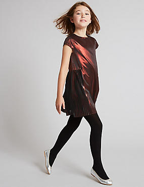 Metallic Pleated Dress (3-14 Years)