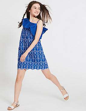 Pure Cotton Broderie Dress (3-16 Years)