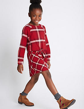 Pure Cotton Checked Dress (3-14 Years)