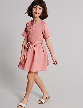 Pure Cotton Shirt Dress (3-16 Years), PINK, catlanding