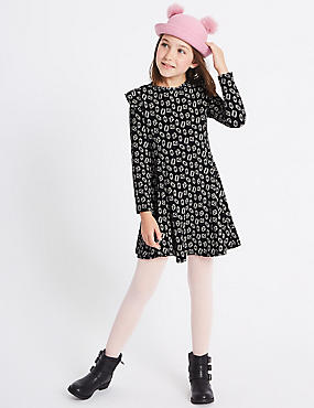 Printed Cotton Rich Dress with Stretch (3-14 Years)