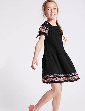 Pom-pom Pure Cotton Dress (3-16 Years)