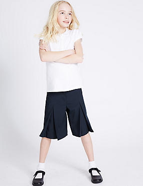 Girls' Culottes, NAVY, catlanding