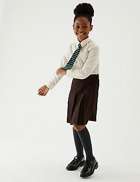 Girls' Skirt with Permanent Pleats, BROWN, catlanding