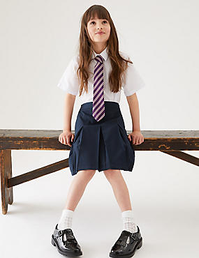 Girls' Slim Fit Skirt with Permanent Pleats, NAVY, catlanding
