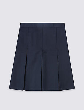 Girls' Plus Fit Skirt with Permanent Pleats, NAVY, catlanding