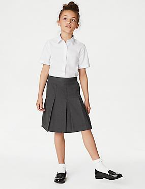 Girls' Plus Fit Skirt with Permanent Pleats, GREY, catlanding