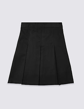 Girls' Plus Fit Skirt with Permanent Pleats, BLACK, catlanding
