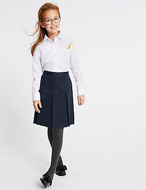 Girls' Longer Length Skirt, NAVY, catlanding