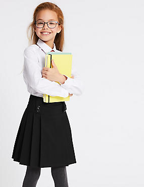 Girls' Slim Fit Pleated Skirt, BLACK, catlanding
