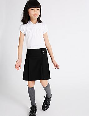Girls' Longer Length Pleated Skirt, BLACK, catlanding