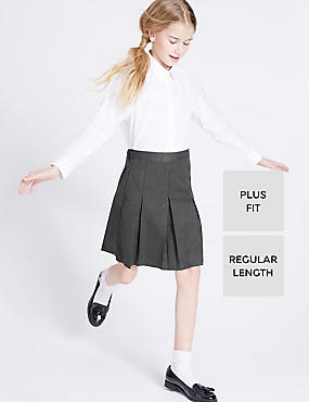 Plus Fit Crease Resistant Girls' Traditional Skirt with Permanent Pleats & Stormwear™