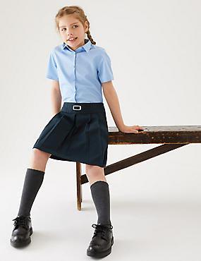 Girls' Skirt with Permanent Pleats, NAVY, catlanding