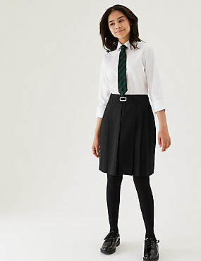 Girls' Skirt with Permanent Pleats, BLACK, catlanding