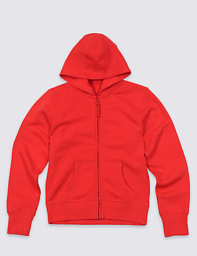 Girls' Cotton Rich Hooded Sweatshirt with StayNEW™ & Active Sport™