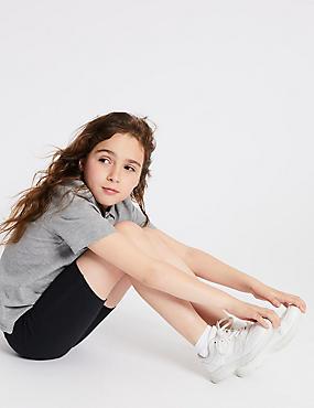 2 Pack Girls' Cotton Shorts with Stretch, DARK NAVY, catlanding