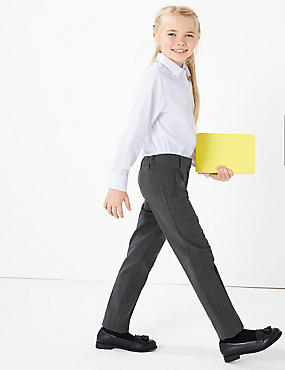 Girls' Slim Leg Trousers, GREY, catlanding