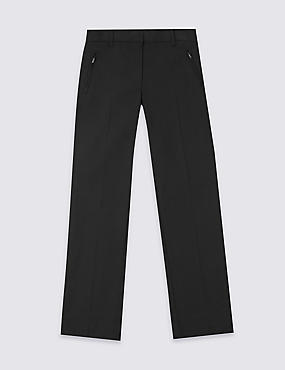 Girls' Plus Fit Slim Leg Trousers, BLACK, catlanding