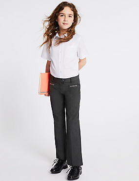 Girls' Embroidered Trousers, GREY, catlanding
