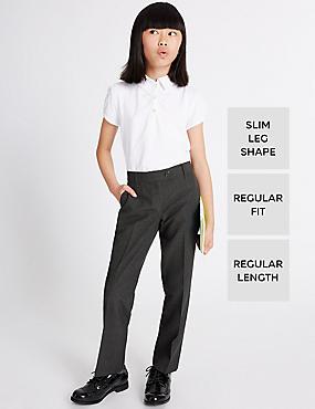 2 Pack Girls' Regular Leg Trousers, GREY, catlanding