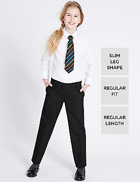 2 Pack Girls' Crease Resistant Adjustable Waist Regular Leg Trousers with Triple Action Stormwear™
