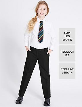 2 Pack Girls' Regular Leg Trousers, BLACK, catlanding
