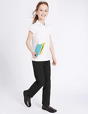 Girls Additonal Length Slim Leg Trousers, BLACK, catlanding