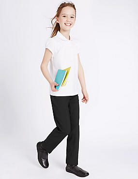 Girls' Slim Leg Trousers, BLACK, catlanding
