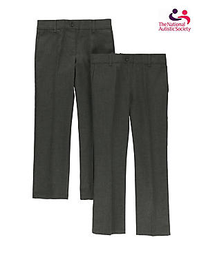 2 Pack Girls' Easy Dressing Trousers