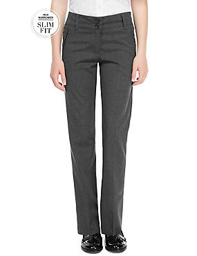 Girls Slim Fit Slim Leg Zip Pocket Trousers