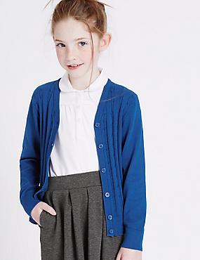 Girls' Cotton Rich Cardigan, BLUE, catlanding