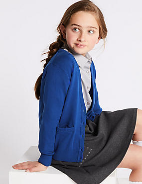 Girls' Cotton Rich Cardigan with StayNEW™