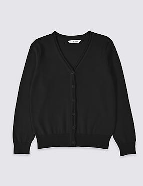 Girls' Pure Cotton Cardigan, BLACK, catlanding
