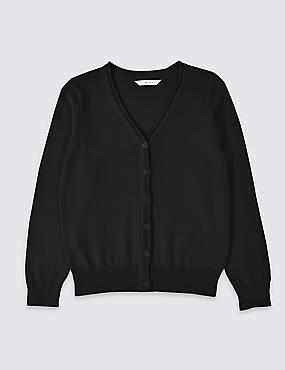 Girls' Pure Cotton Cardigan, BLACK, catlanding