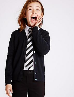 Girls' Wool Blend Cardigan, DARK NAVY, catlanding