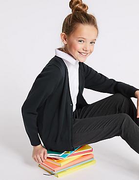2 Pack Girls' Pure Cotton Cardigan, DARK NAVY, catlanding