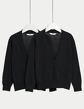 2 Pack Girls' Pure Cotton Cardigan, BLACK, catlanding