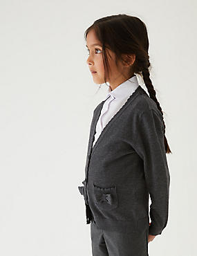 Junior Girls' Pure Cotton Cardigan, GREY, catlanding